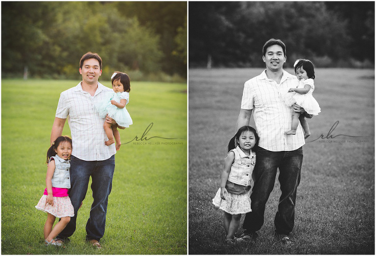 photograph of dad with daughters