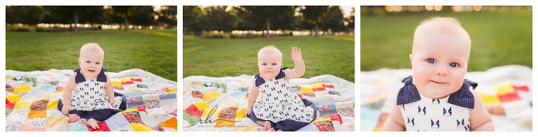 Adorable 6 month old girl, by Chicago Photographer Rebecca Hellyer